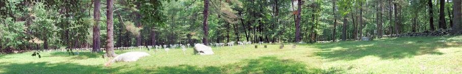 Click on the photo to enter a panorama of the approximate 300 Shaker graves at their cemetery in Shaker Village, Harvard, Massachusetts. Click again to enlarge panorama. (Panning from the left at the deep end of the cemetery to the right at its front entrance on South Shaker Road.)