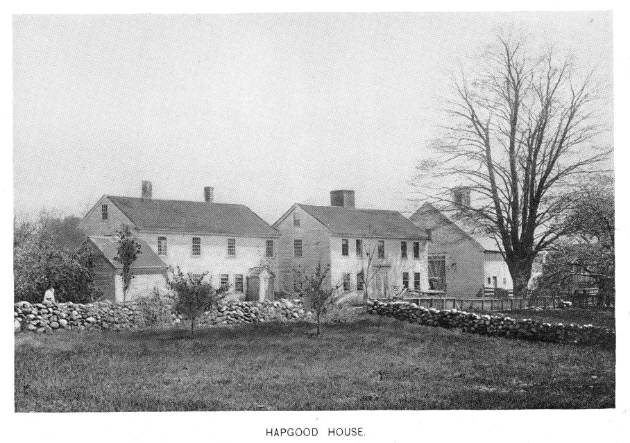 "The Shadrach Hapgood house and farm photographed as it was in circa 1894. 150 Ayer Road. Built in 1730. From ""History of Harvard"", Henry S. Nourse."